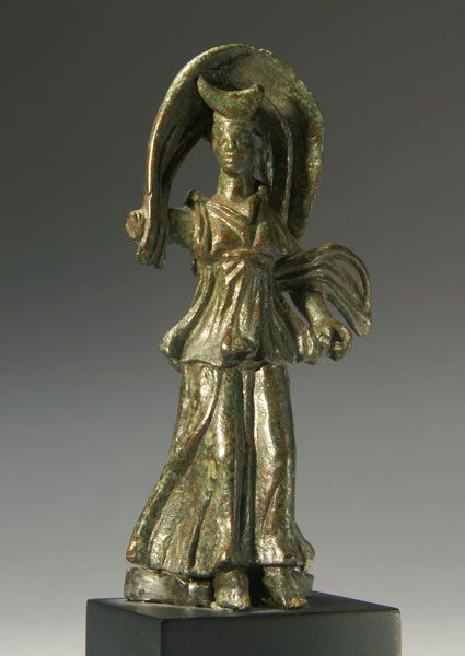 ROMAN BRONZE SELENE, CRESCENT ON HEAD.  (Holding torches), cloak billowing over her head. Missing right forearm. Rare.  1st Century AD