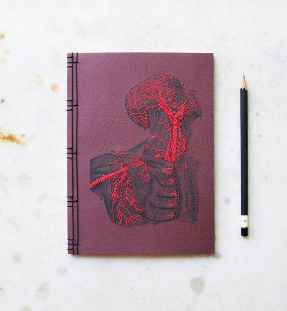 Anatomie-Journal. Bestickte Notebook. von FabulousCatPapers auf Etsy
