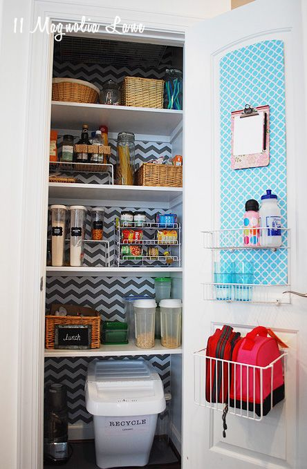 Organized Pantry With Chevron Shelf Paper Background