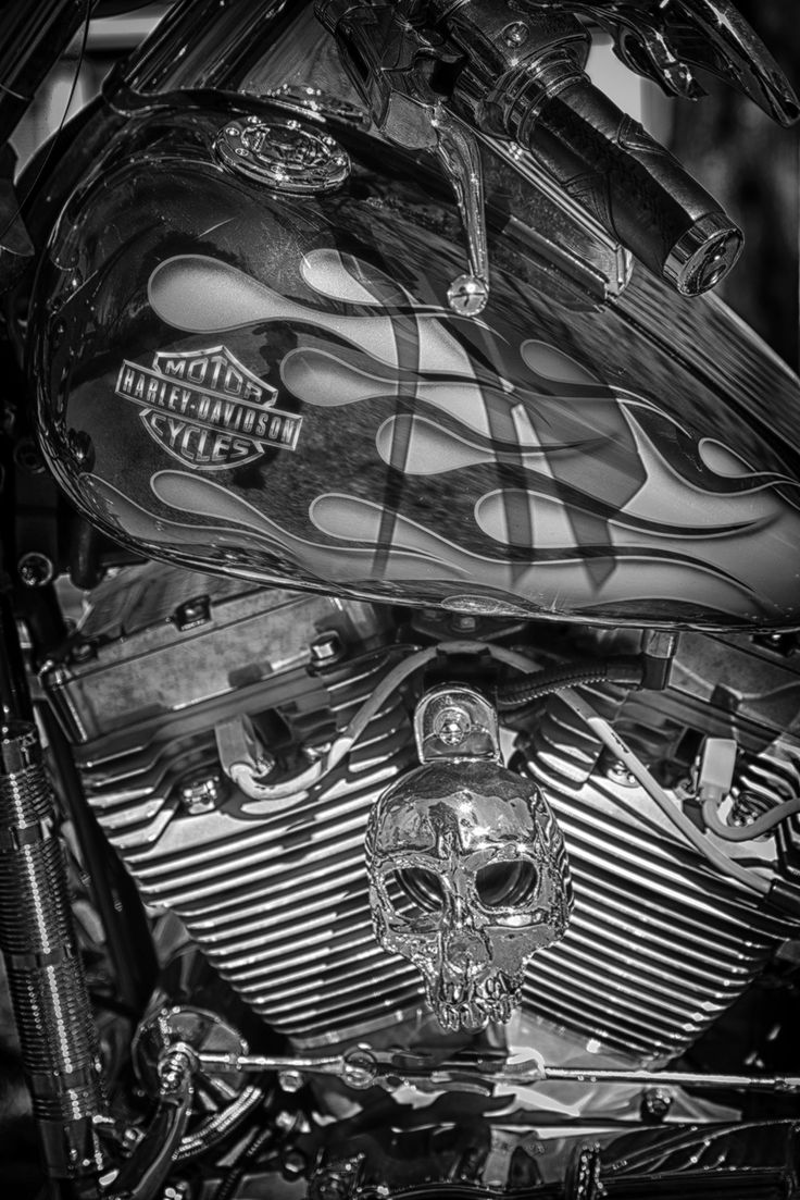 """Harley Davidson Picture Art Print Harley Davidson Gift Boyfriend Gift For Dads Man Cave Décor Men's Gift Harley Picture Garage Decor Wall Picture Man Cave Gift. Harley Davidson Close-up Engine with Skull, Black and White Fine Art Photograph. Sizes: 5""""x7"""" - 8"""" x 12"""" - 12"""" x 18"""" - 16"""" x 24"""" - 20"""" x 30"""" - 24"""" x 36"""". Orientation: Vertical Printed on premium acid-free archival paper with archival pigmented inks. Note: 5 x 7 will be slightly cropped. TO ORDER: ABOVE ADD TO CART CLICK SELECT.."""