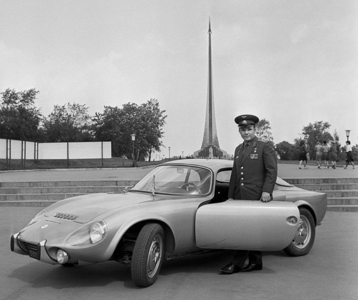 Yuri Gagarin (First Man in Space) and his 1965 Matra-Bonnet Djet 5S. The Matra Djet was a French sports car designed by René Bonne