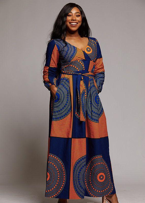 2ce776f3fa8 D IYANU Genet African Print Faux Wrap Maxi Dress (Yellow Blue Circles) Plus