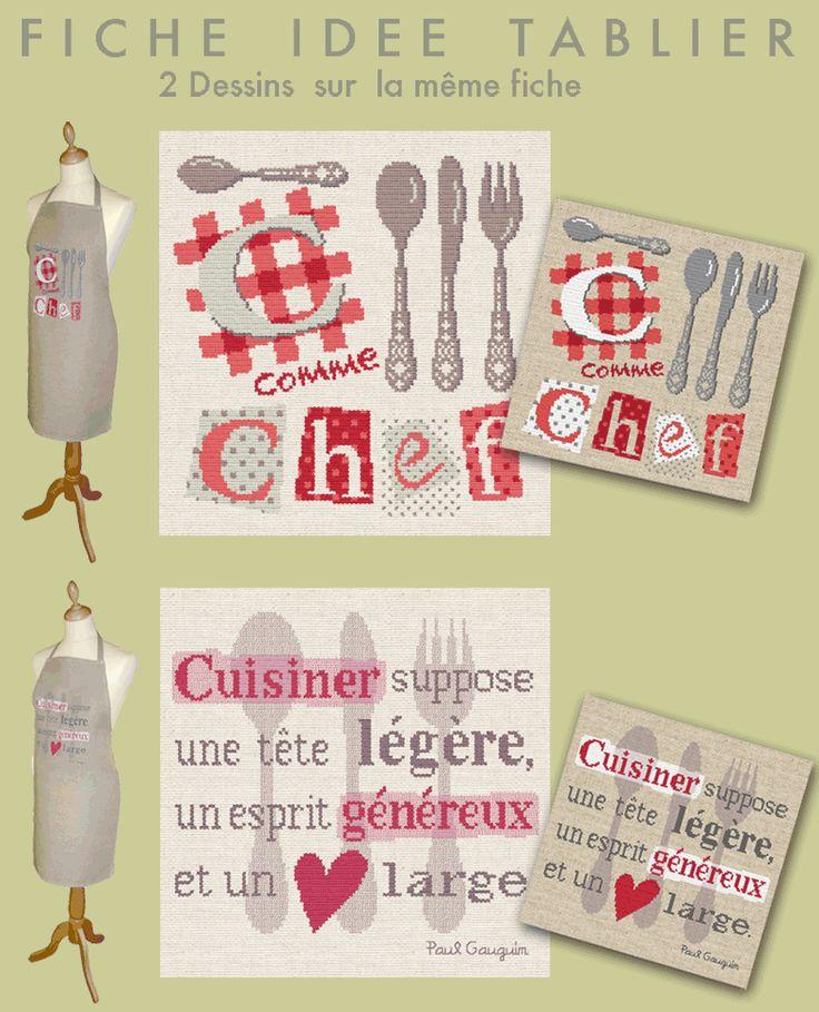 """Lilipoints - Déco et Petits points Tablier """"C comme chef"""" """"Cuisine suppose une tête légère, un esprit généreux et un cœur large"""" D006"""