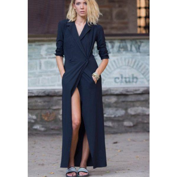 Black Shirt Dress (€80) ❤ liked on Polyvore featuring dresses, elastic waist maxi dress, long maxi shirt dress, long-sleeve maxi dresses, front slit dress and maxi length dresses