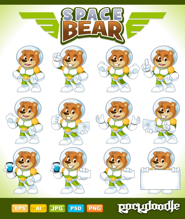 SpaceBear Mascot high-quality detailed mascot available with 12 poses but you can also create more than 12 poses by combining some elements of arm action poses and face expressions.