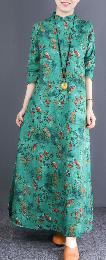 483926b94c Bohemian stand collar cotton quilting clothes plus size Catwalk green floral  loose Dress greenfloradress standcollardress cottondress