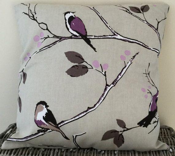 Purple Bird Print Handmade Cushion 16 x 16 / 40.5