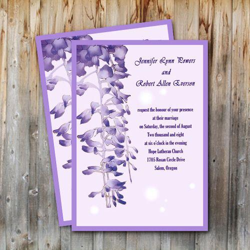 Unique Purple Garden Wedding Invitations EWI007