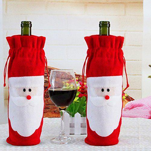 Red Wine Bottle Cover Bags, 2Pcs Santa Claus Bottle Cover...
