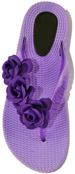 These Purple Thong Sandals with three flowers...