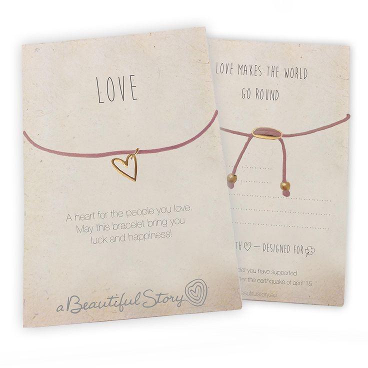 LOVE - Lucky charm bracelet card front