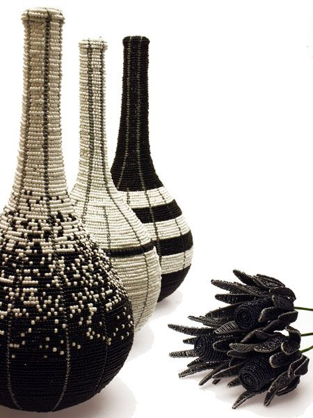 Wire and glass seed bead vases by Streetwires (South Africa) | From their Home Collection  | pinned at www.africacrafttrust.org.za