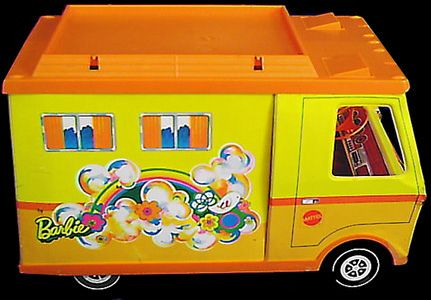 70s barbie camper, I loved mine and thought it was sooo cool that the door slid over and the little side tent popped out.