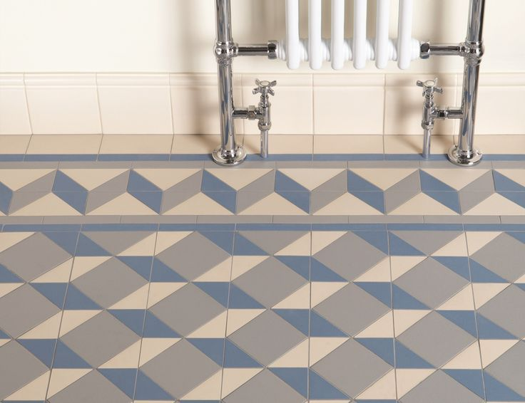 Victorian Floor Tiles - individual shapes make up this blue and grey art deco style pattern with a 'Shelley' border