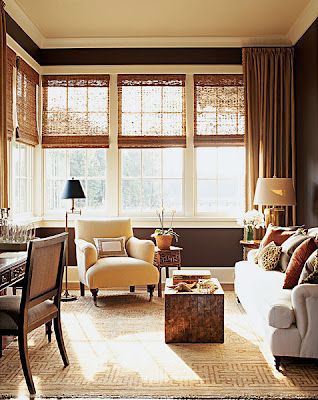 Who would've thought how elegant bamboo blinds could look in a living space?  I'm charmed.