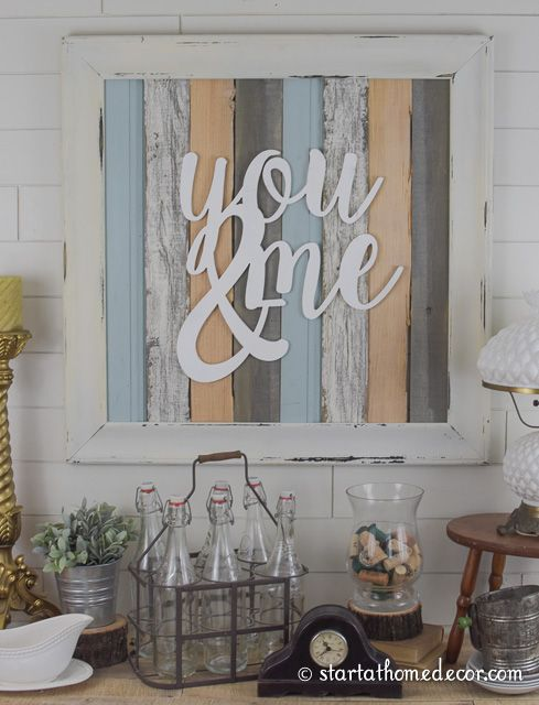 You & me reclaimed wood sign
