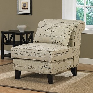 Bold, romantic French script in shades of black and brown envelopes this stylish off-white slipper chair. Designed exclusively for Overstock.com, this furniture piece features non-mar foot glides, rich espresso-stained legs and an elegant accent pillow. $199.99