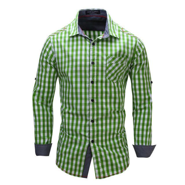 Men's Plaid Shirts, Casual Cotton Shirts, Red, Green, Blue, Green