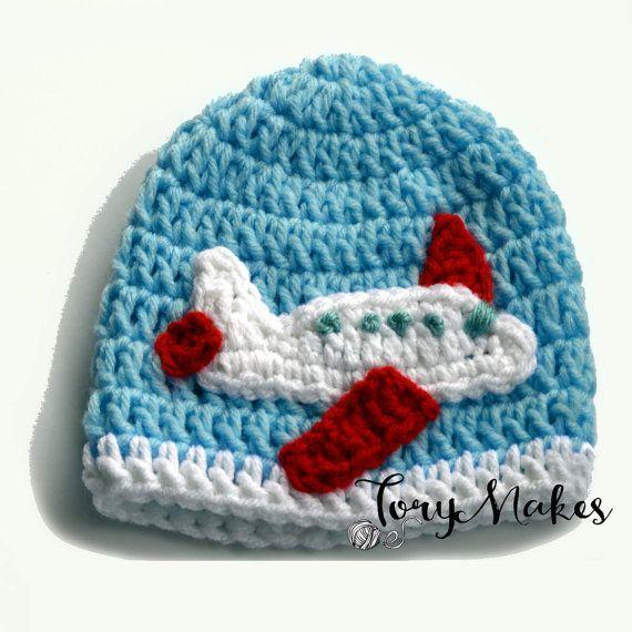 Baby Boy Crochet Airplane Hat, Toddler Boys Airplane Beanie, Knit Plane Hat, Newborn Photo Prop, Baby Boy, Plane Applique Crochet Baby Hat Its an