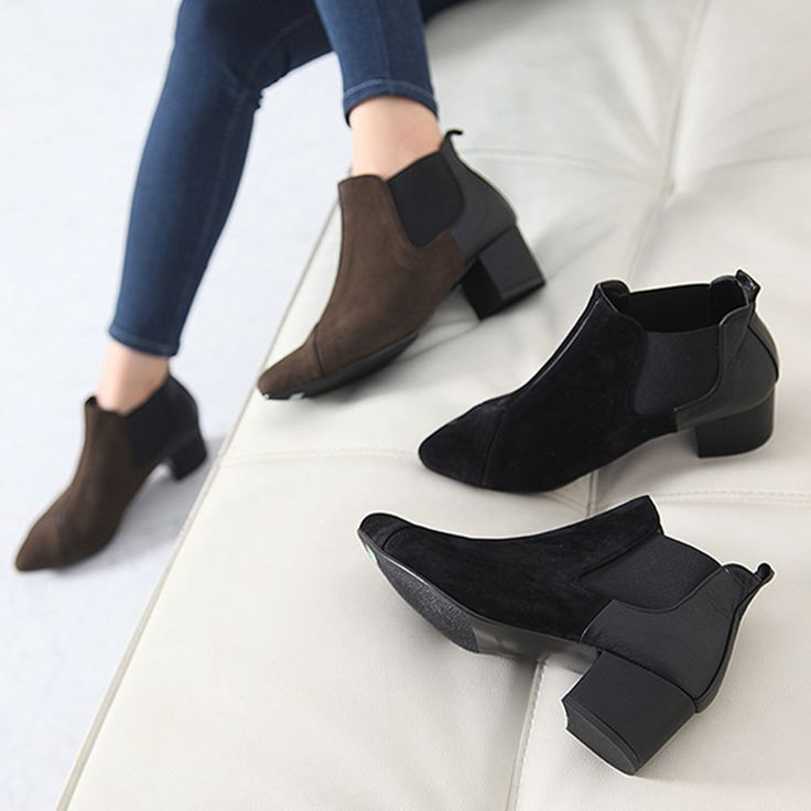 Made In Korea Women's Elastic Ankle Boots Middle Heels Suede & Synthetic #DreamTree #AnkleBoots #WeartoWork