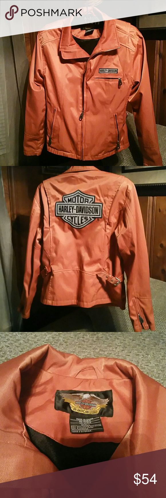 SALE TILL TUESDAY - ORANGE HARLEY DAVIDSON JACKET Lined with reflective decals.  Great condition. Harley-Davidson Jackets & Coats