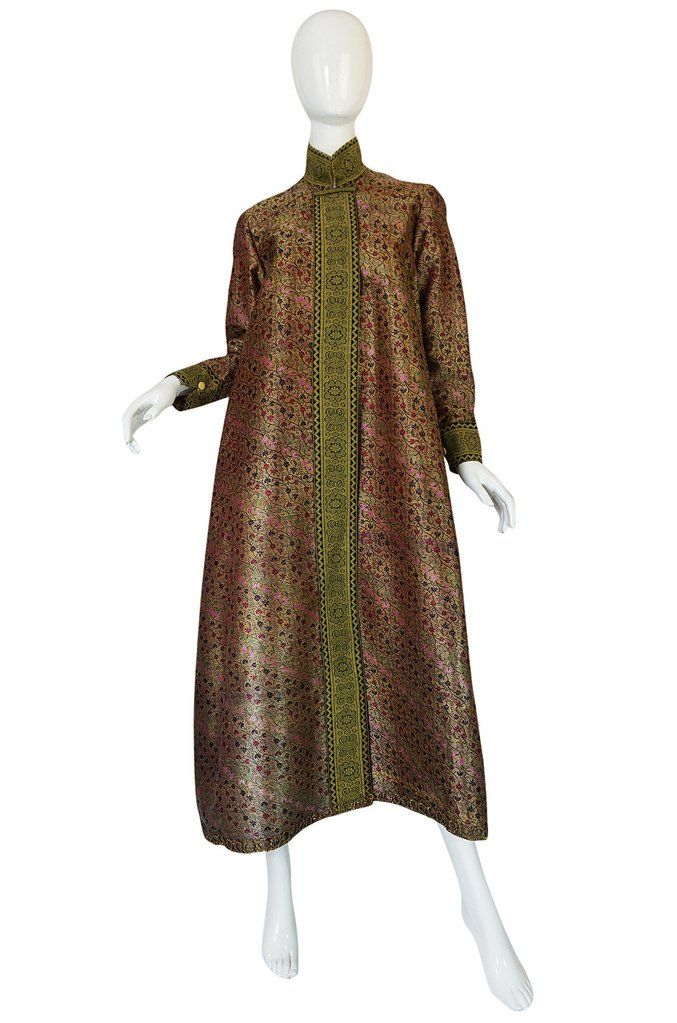 1950s Gold Silk Brocade Coat Made of Antique Persian Silk