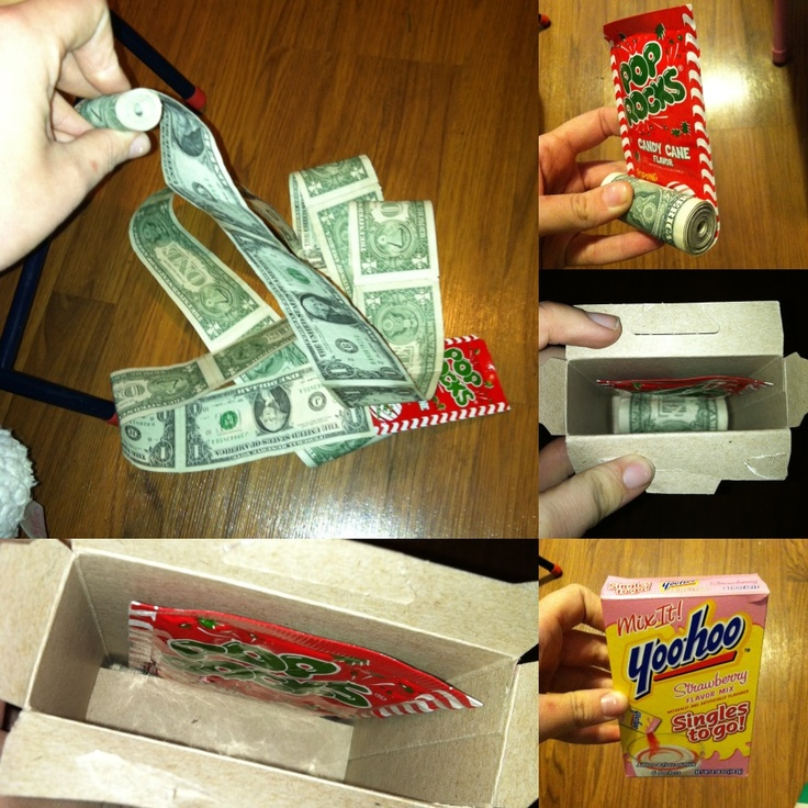 My Christmas gift exchange prank. 2012. Pass it along. Just looks like a pack of pop rocks and yoo-hoo. But when you pull the pop rocks, 20 $1 bills are taped end to end and rolled up and surprise! $$$$