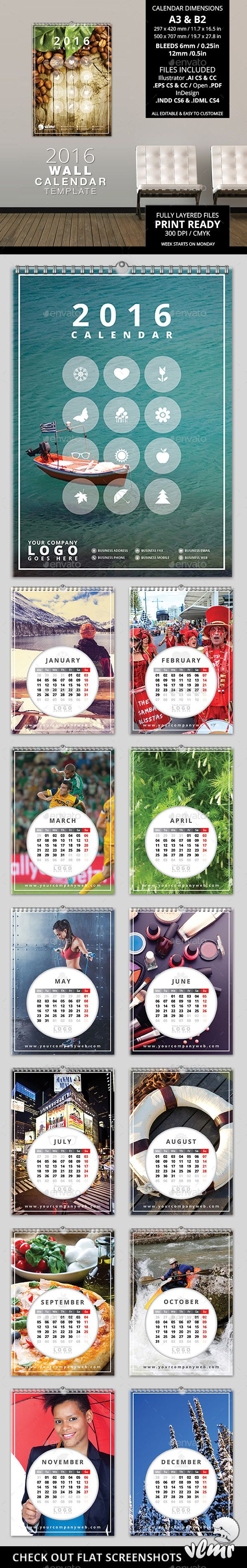 Circles - 2016 Wall Calendar Template #design Download: http://graphicriver.net/item/circles-2016-wall-calendar-template/13195586?ref=ksioks