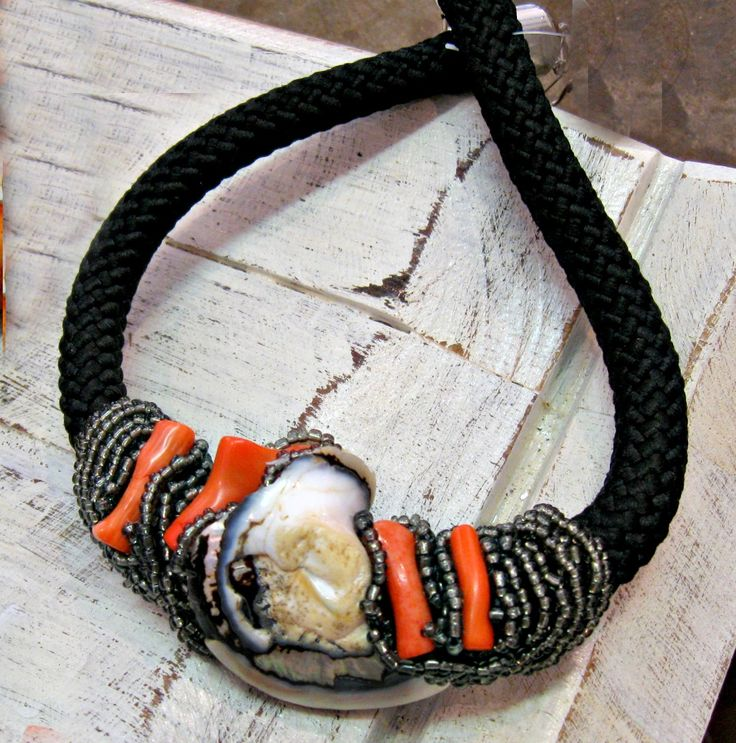 beaded rope - shells and coral