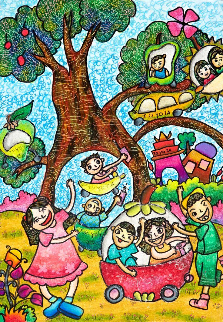 'Enjoying Fruits Car' by Iona Aveline Joy, Aged 7, Indonesia: 3rd Contest, Bronze #KidsArt #ToyotaDreamCar
