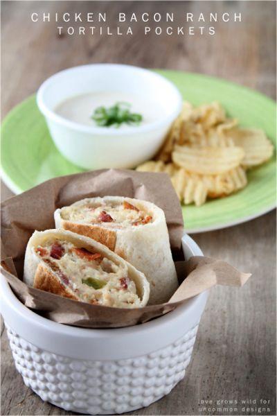 Chicken Bacon Ranch Tortilla Pockets  www.uncommondesignsonline.com #chickenrecipes  #sandwiches