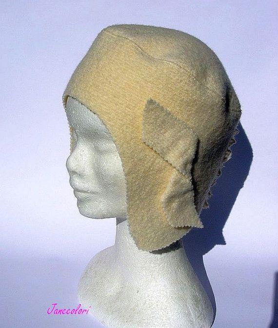 Berretto cappello aviatore lana color crema stylisch di Janecolori