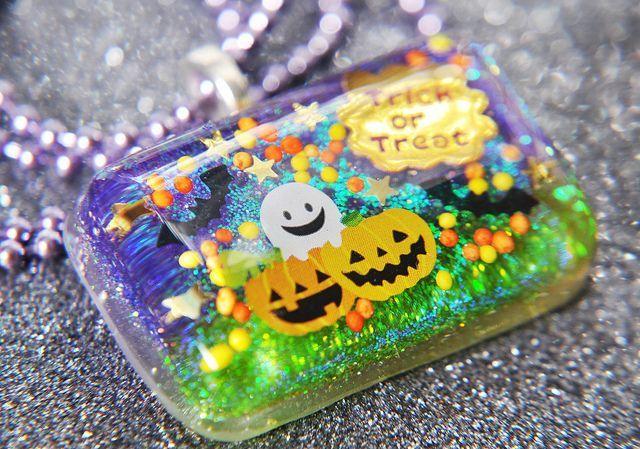 Halloween Resin Glitter Necklace