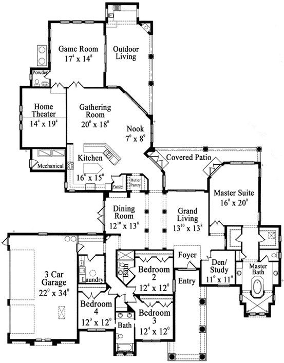 House Room Drawings: House Plans With Laundry Room Near Master