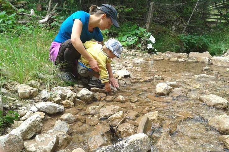 Bauen wir einen Staudamm Mamma? Kleine Bäche in den Dolomiten eignen sich sehr
