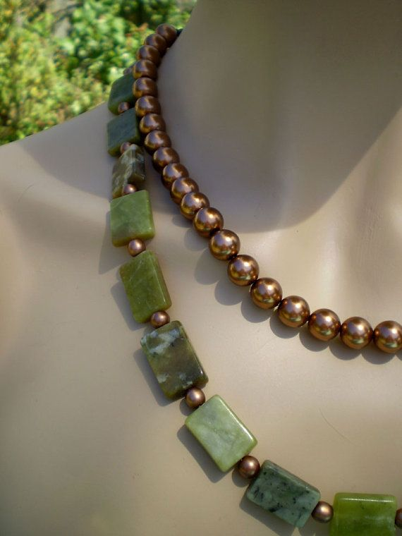 Classic green serpentine and bronze pearl by EachBeadCounts