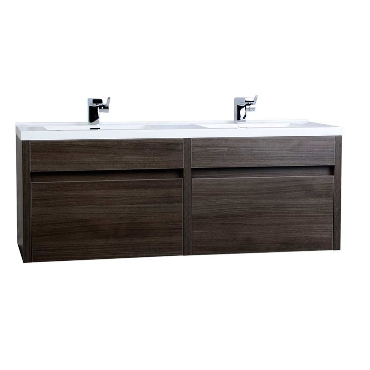 Aversa 60 Modern Double Vanity Set Grey Oak Optional