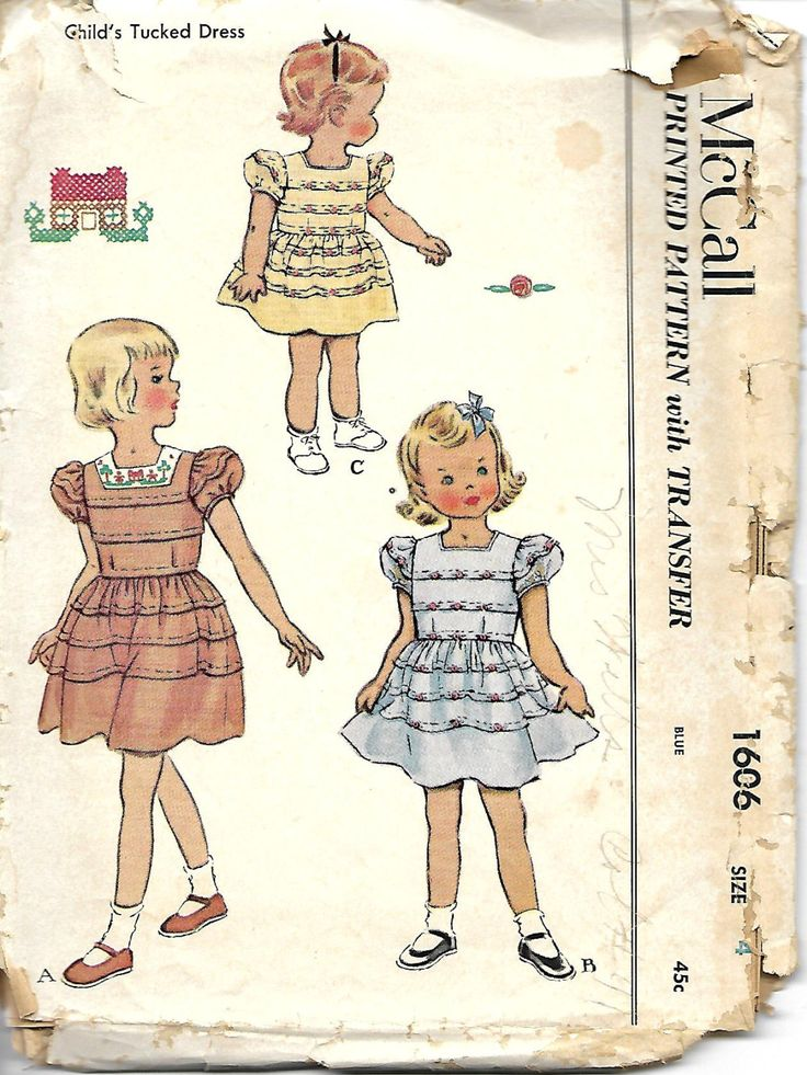 1950's McCall's 1606 Child Child's Tucked Dress Pattern, Size 4, Breast 23 by DawnsDesignBoutique on Etsy