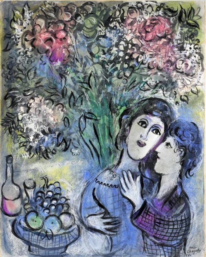 Marc Chagall | Les Amoureux aux Fruits ou Deux Tetes | http://rynekisztuka.pl/2013/05/10/romantyczne-dzielo-marca-chagalla-na-aukcji-bonhams/