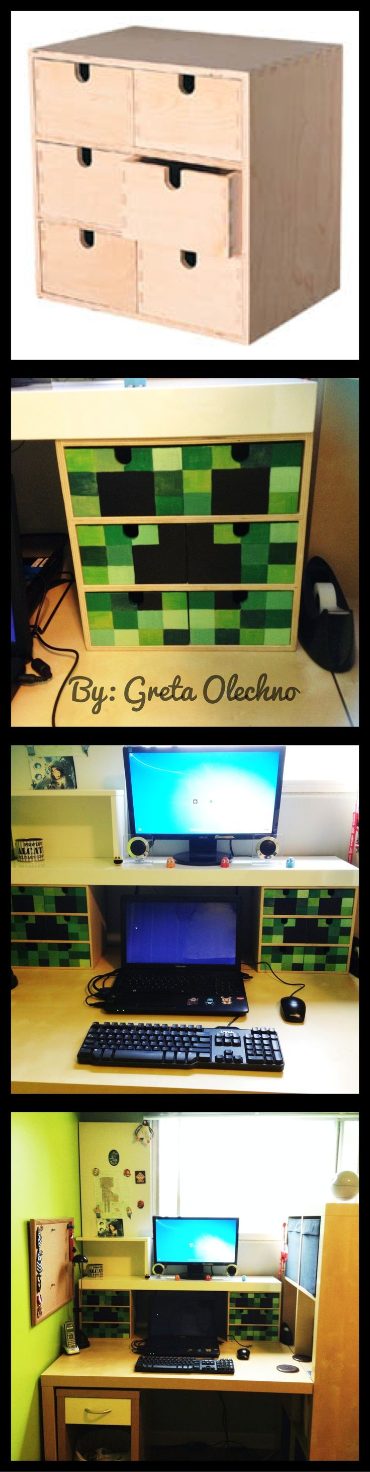 This was my weekend project for my son's room...minecraft creeper drawers from ikea:)