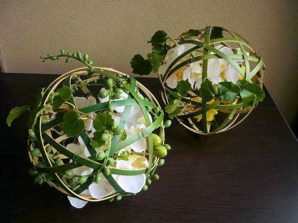 Artificial Flowers in Bamboo Balls by Kent Florist Mikiko Inoue