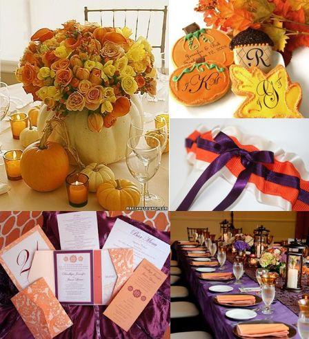 plum and pumpkin fall wedding inspiration pumpkin decor orange and purple wedding invites pumpkin favors wedding favor ideas wedding party blog