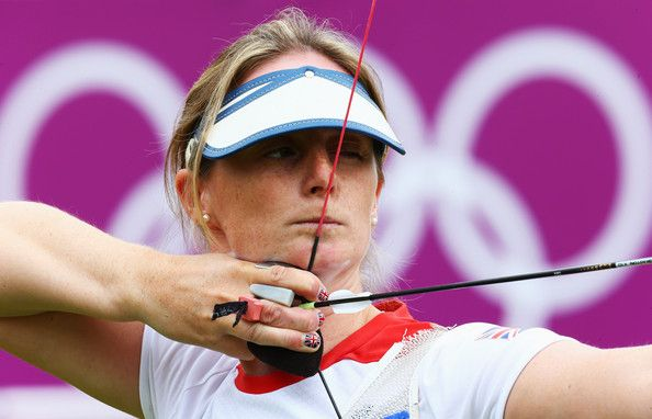 Naomi Folkard of Great Britain competes in her Women's Individual Archery 1/32 Eliminations match