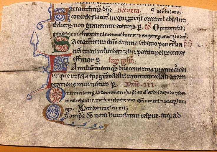 Dette fragmentet er fra et missale som har sittet på et regnskap for Halsnøy og Hardanger len 1614. Detkan være skrevet i Norge i første halvdel av 1200-tallet, og har initialer i gult, gr…