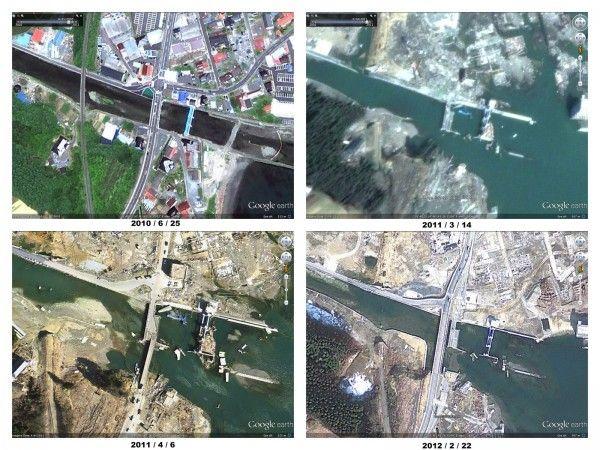 Google Maps actualiza sus imágenes satélite de Japón un año después del Tsunami.