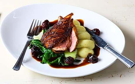 Honey-glazed duck breast, vanilla and lime mash with pack choi and blackberry jus