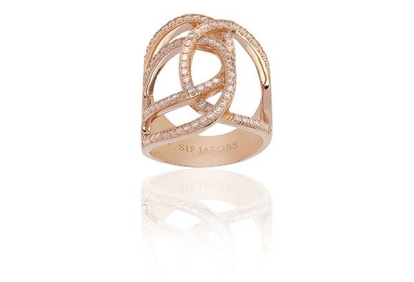 Ring Fucino Grande - 18k rose gold plated with white zirconia!
