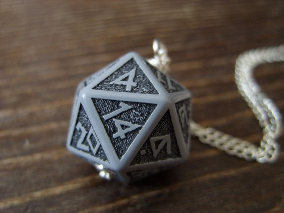 D20 pendant dice necklace dice jewelry dwarven dice by MageStudio, $20.00