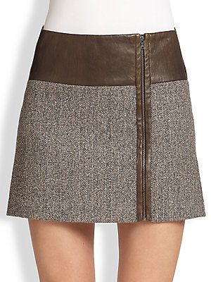 Alice + Olivia Ginny Leather-Trimmed Mini Skirt