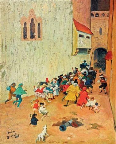 Lentrée de Don Quichotte et Sancho Pança dans une ville by André Devambez